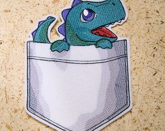 Pocket Monster Green Dinosaur Iron On Embroidery Patch MTCoffinz - Choose Size