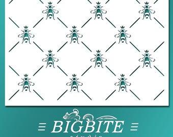 Shabby Chic STENCIL: Wall Stencil French Bee Queen Bee Pattern Elegant DIY Wall Decor (Furniture Print Transfer) #038