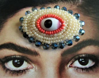 Eye Brooch, Surreal Bead Embroidery, in the Tradition of Victorian Lover's Eye Pins, Oval Bordered with Blue Crystal Glass Beads