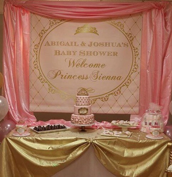 pink and gold princess crown baby shower 1st birthday
