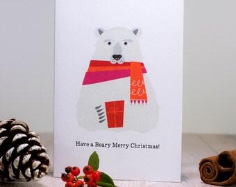 Polar Bear Christmas Card, Scandinavian Christmas, Happy Holidays Card, Cute Christmas Card, Retro Xmas Animal Card, Festive Teddy Bear
