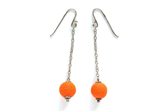 Orange earrings - sterling silver and polymer clay - summer earrings - textured sphere - statement jewelry - color block jewellery