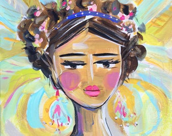Warrior Girl PRINT, abstract faces, Maren Devine, paper or canvas, Lola