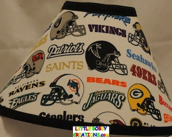 NFL Football Helmets Fabric Lamp Shade. You Choose the TRIM COLOR!!! (10 Sizes to Choose From)