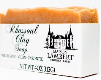 Organic Rhassoul Clay Soap - Organic Soap - handmade soap - vegan soap - clay soap - all natural soap - unscented soap - dry skin soap