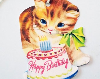 Cat Birthday Tags - Gift Tags - Retro Cat Tags - Set Of 3 - Happy Birthday - Mid Century - Birthday Cake Tag - Vintage Cat  - Cat And Cake