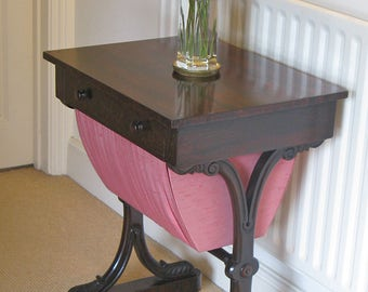 Early Victorian Rosewood Work Table on Scroll-Carved Supports