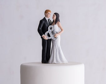 Personalized Wedding Cake Topper - Wedding Couple - Modern Wedding Cake Topper - Weddings - Cake Topper - Modern Bride and Groom Cake Topper