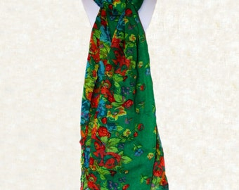 Green Floral Scarf Green Blue Flowers Spring Scarf Green Blue Yellow Red Orange Flower Scarf Summer Scarf