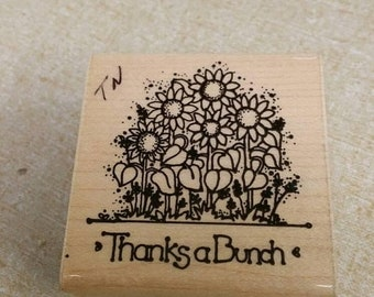 On Sale Thanks A Bunch Sunflower Rubber Stamp for Scrapbooking or Card Making Crafting Supply