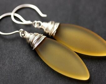 Amber Seaglass Earrings. Seaglass Dangle Earrings. Marquis Style Frosted Earrings. Wire Wrapped Earrings. Handmade Jewelry.