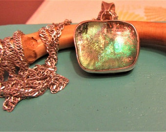 Vintage Dichroic Glass Sterling Silver Pendant on 30.5 Italy Sterling Chain