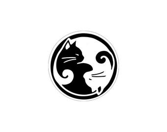 Yin Yang Cats - Small Bumper Sticker / Decal or Magnet
