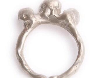 SALE - Primitve Raw Sterling 3 Bump Ring Modern Lost Treasure