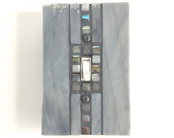 Gray Light Switch, Grey Switch Cover, Switch Plate, Decorative, Mosaic Art, Room Decor, Home Decor, Single, Stained Glass, Wall Art, 8998