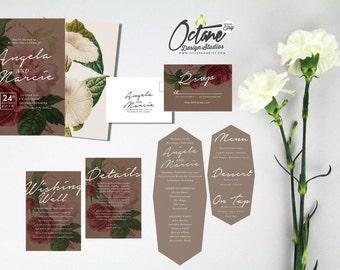 Botanical Wedding Invitation Suite w/ invitation, rsvp postcard, details card, wedding program +  custom menu