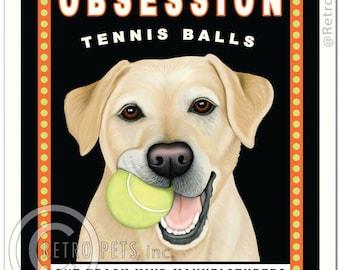 8x10 Yellow Lab Art - Obsession Tennis Balls - One Track Mind Manufacturers -  Art print by Krista Brooks