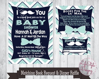 Mustache Baby Shower Invitation - Baby Boy - Baby Shower Invite - Chevron - Navy Mint - Mustache You A Question - Its a Boy - Printable