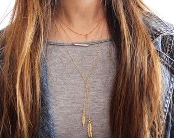 Lariat Feather Necklace //  14k Gold Fill Drop Feather Chain Y Necklace