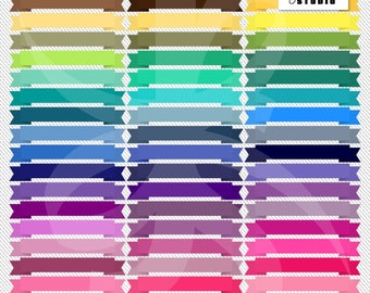 Digital Clipart Banners-Colorful Banners-Rainbow Pack-Bright Colors-Web Banners-Digital Banners-Scrapbook Elements-Instant Download Clip Art