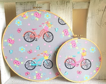 Vintage Inspired Embroidery Hoop Framed Colorful Bicycle and Floral Fabric Wall Hangings Spring Summer Decor