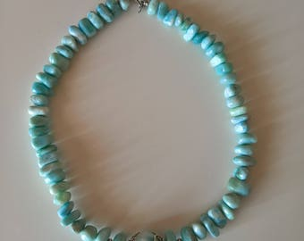 20% OFF - Excellent larimar beaded necklace, sterling silver rose clasp