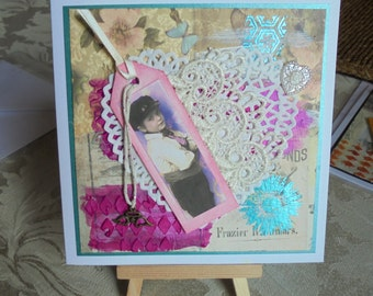 Little boy lost card. Vintage theme card. Friend card. Mixed media card. Assemblage card. Any occasion card. Special person, Keepsake card.