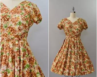 1950's brown floral cotton dress • large