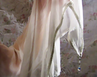 Haute Couture Crepe and Swarovski Crystal Handbeaded Off-White Bridal Wrap