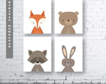 WOODLAND Animals Wall Art Print-Set of Four (4) - Digital Download.Woodland Creatures Wall Art Printable.Forest Friends Printable.Minimalist