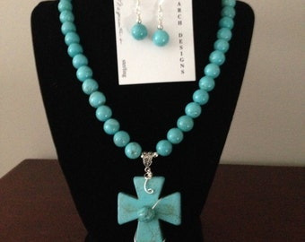 Beautiful magnesite cross, strung with 10mm magnesite beads