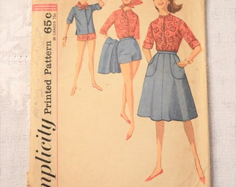 Simplicity 4899 Sewing Pattern Misses Shirt Scarf Shorts Wraparound Skirt Size 12 DIY Fashion Sewing Crafts PanchosPorch