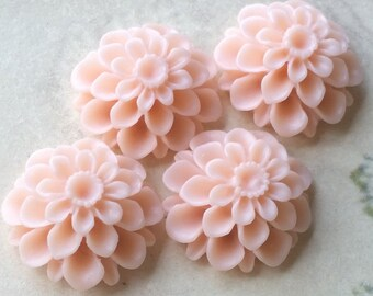 20 mm Tan Brown Color Resin Dahlia Flower Cabochons (.am) (zzb)