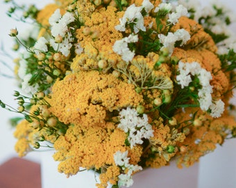 Statice, Yarrow and Flax Arrangement, Mother's Day gift, dried flower arrangement, yarrow decor, yellow decor, simple arrangement, modern