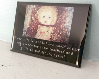 Porcelain Doll Adventures of Claudia Glittery Sparkly Winter Snow Magnet Dollhouse Photography Doll Humor