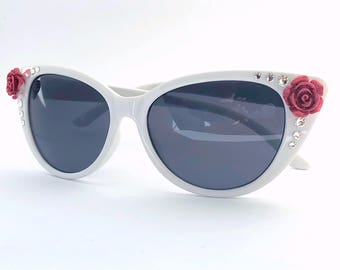 Embellished Retro Cat Eye Style Sunglasses White with Red Rose Flowers and Rhinestone Crystals