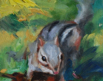 Oil Painting of Chipmunk, the Bandit.  Animal Painting.  Small Impressionistic Painting of Ground Squirrel by Frankie Johnson.