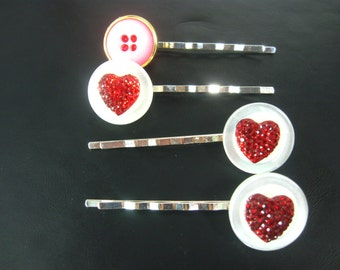 Valentine Hair Clip, Heart Hair Clip, Red Clips, Hair Accessories, Hair Pins, Bobby Pin