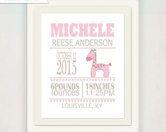 Personalized gift kids etsy pink and tan giraffe birth announcement canvas personalized girls birth announcement canvas kids nursery wall art baby gift negle Choice Image