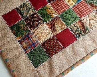 SALE Quilted Patchwork Table Topper, Table Mat, Mug Rug, or Candle Mat Primitive Colors