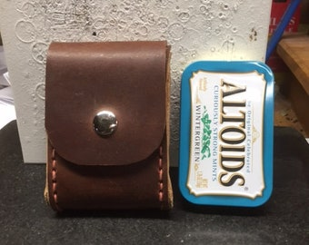 3 brown altiod tin pouch with horizontal belt loop