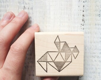 Triangle Abstraction Rubber Stamp by Brown Pigeon and Tusk and Cardinal, aka Bird in the Hand : A special artist collaboration