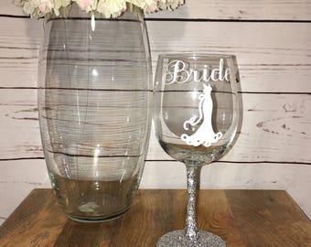 Glitter Base Bride Wine Glass