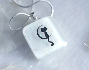 Cat in the Moon Dichroic Fused Glass Pendant Jewelry Necklace Fused Glass 01179, GetGlassy