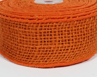"2"" Wired Jute Burlap Ribbon - Orange - 10 Yards"