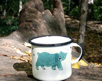 Polar hand-painted enamel cup