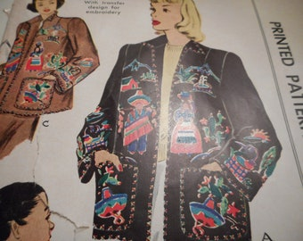 Vintage 1940's McCall 1399 Mexican Jacket with Transfer Sewing Pattern Size Small 10-12 Bust 30-32