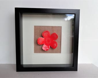 Red sakura flower wall art, mixed media framed ceramic abstract floral wall hanging picture miniature, nature lover housewarming gift