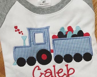 Valentine's Day Shirt, Train Applique, Valentine's Day Applique Shirt