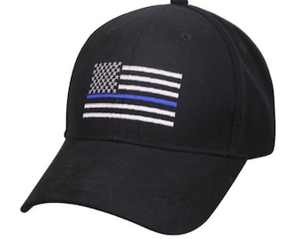 TBL Police Thin Blue Line Flag Hat Law Enforcement LEO LEOW Cop PoliceWife Police Wife Girlfriend